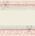 cute lace frame with decorative hearts vector image vector image