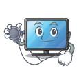 doctor lcd tv cartoon in living room vector image vector image