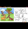 dogs and puppies characters group coloring book vector image vector image