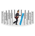 domino effect visualization with businessman vector image
