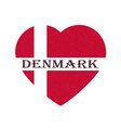 flag of denmark in heart shape scandinavian vector image