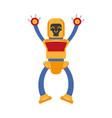 flat cartoon small funny male boy robot vector image