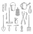 Gadening tools sketched icons set vector image vector image