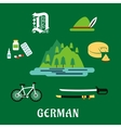 German culture and history flat icons vector image vector image