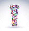 Glass decorated with abstract floral pattern and vector image vector image