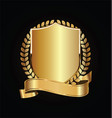gold and black shield with gold laurels 13 vector image