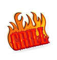 grill text with flaming fires vector image