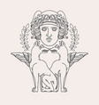 hand drawn antique goddess with dogs isolated vector image vector image