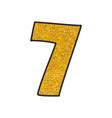 hand drawn golden number 7 isolated on white vector image