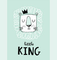 hand drawn lion head in a crown cute doodle style vector image vector image