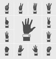 hand icons set vector image