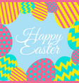 happy easter card with decorated eggs vector image vector image