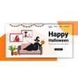 happy halloween holiday celebration woman in witch vector image