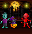 happy halloween party outdoors in the night vector image