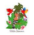 hello summer jungle design banner vector image vector image