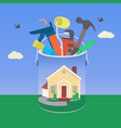 house with tool in colorful design vector image vector image