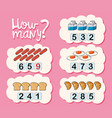 how many worksheet with different types of food vector image vector image