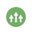 icon three up arrow in color circle vector image