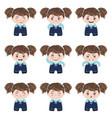 kawaii girl emotions vector image vector image
