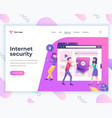 landing page template social internet security vector image vector image