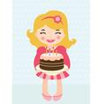 little girl birthday cake vector image vector image