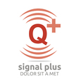 Logo Signal Letter Q Plus Red Alphabet Wireless vector image