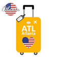 luggage with airport station code iata or location vector image