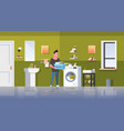 man with clothes basket standing near washing vector image vector image