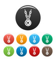 necklace medallion icons set color vector image