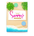 poster with summer beach seashore for touristic vector image vector image