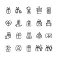 Present gift signs black thin line icon set