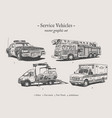 service vehicles vintage set vector image vector image