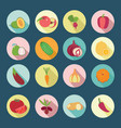 set of fruits and vegetables flat design icons vector image