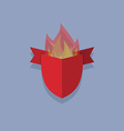 shields with fire element heraldic vector image