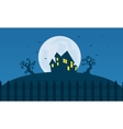 Silhouette of Halloween scary castle and moon vector image vector image