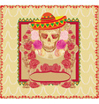Skull and Flowers Day of The Dead vector image