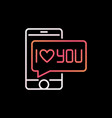 smartphone with i love you bubble colorful vector image vector image