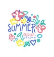 summer logo template original design colorful hand vector image