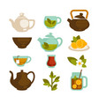 tea cups teapot and teabags icons set for vector image