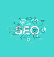 thin line flat design banner of search engine vector image vector image