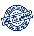time for change blue round grunge stamp vector image vector image