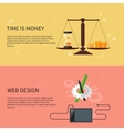 Time is money and web design vector image vector image