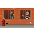 Two boys inside the jail vector image vector image
