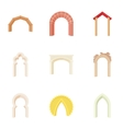 Types of arches icons set cartoon style vector image vector image