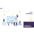 video conference landing page template business vector image vector image
