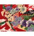 vintage hawaiian kimono motifs vector image vector image