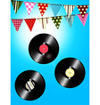 Vintage vinyl records and bunting over sunny sky vector image vector image