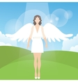 woman female angel with feather wings standing vector image