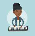 young african-american woman playing the piano vector image