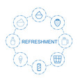 8 refreshment icons vector image vector image
